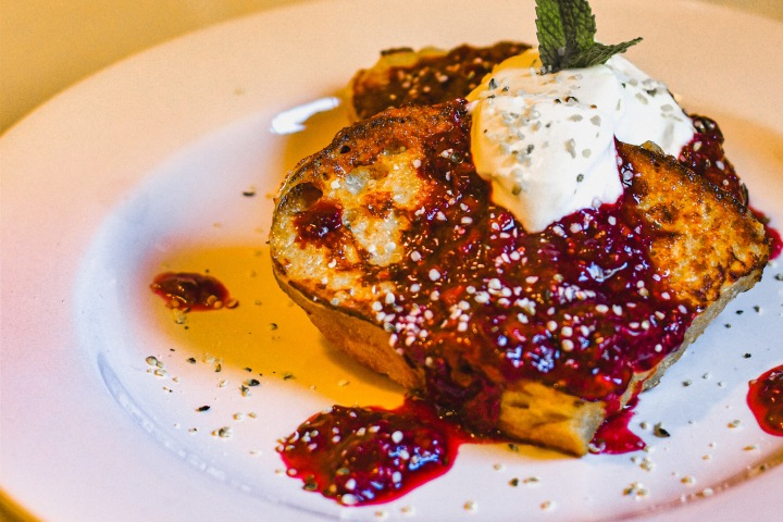 SOURDOUGH FRENCH TOAST WITH BERRY SAUCE + MAPLE GREEKYOGURT