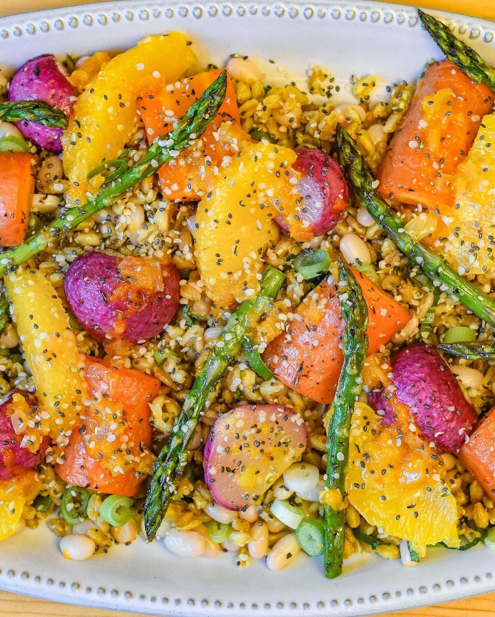 EARLY SPRING ROASTED VEG + FARRO SALAD