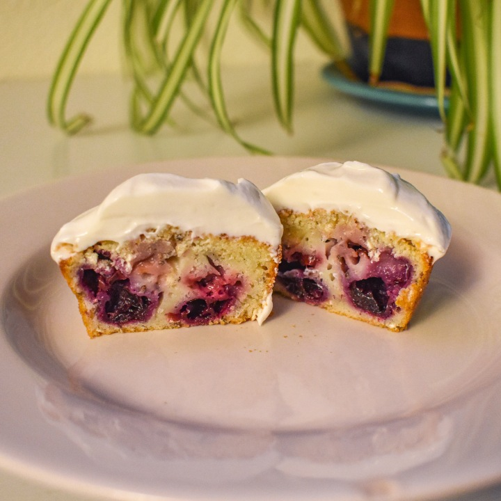 CHERRY BERRY LEMON MUFFINS W/ MAPLE YOGURT FROSTING