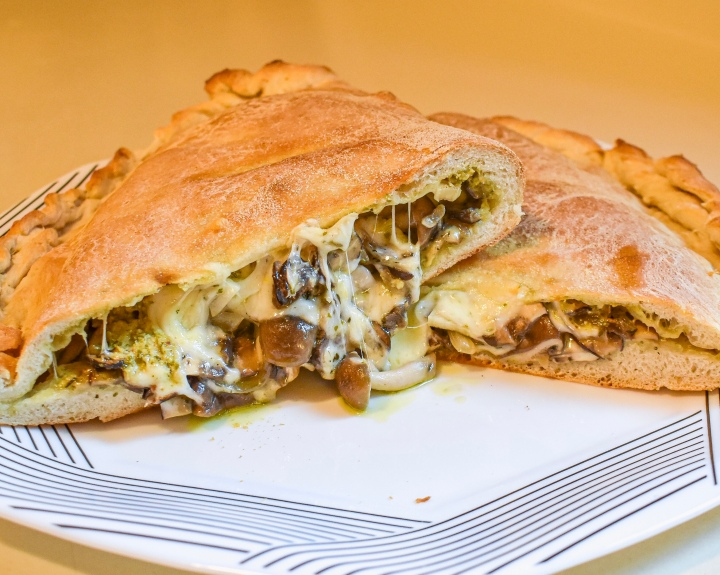 ALL THE MUSHROOMS + PESTO CALZONE