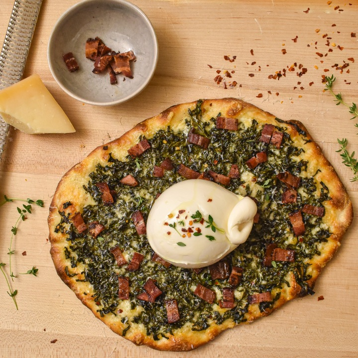 SPICY KALE BACON + BURRATA PIZZA