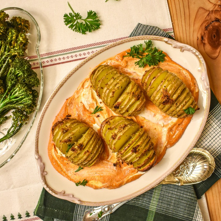 HASSELBACK POTATOES W/ ROMESCO