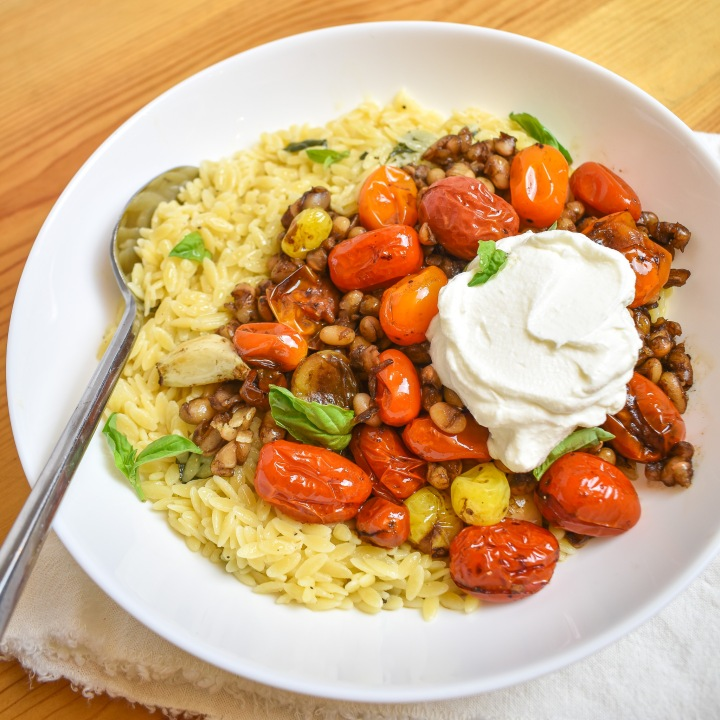BALSAMIC CHERRY TOMATOES + WHITE BEANS W/ BUTTER BASIL ORZO