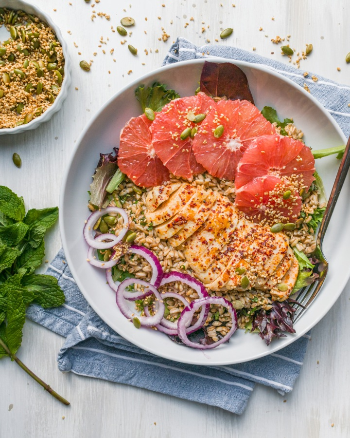 GRAPEFRUIT + FARRO SALAD W/ ALEPPO CHICKEN