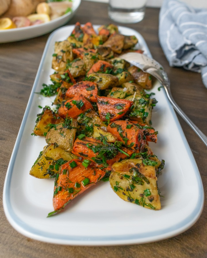 BUTTERY HERBED CARROTS +POTATOES